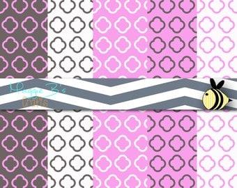 Pink and Gray Quatrefoil Digital Paper - Instant Download
