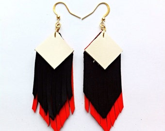 Fringed geometric tassel eco leather earrings, in white, black and neon leather hand-cut layers