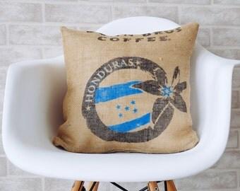 Burlap fabric pillows, decorative pillow, throw pillow cover  Authentic Dunn Bros Coffee burlap bag
