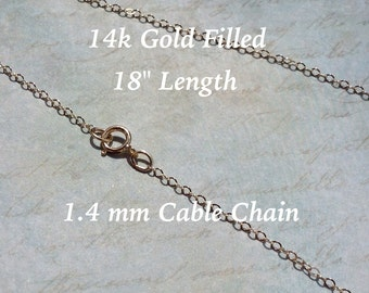 """25 ea. 14 K Gold Filled Flat Cable Chain 1.4x2mm 18"""" Necklace 14/20GF"""