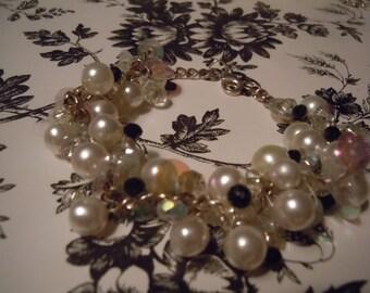 Black and White Glass Pearl beads, Swarovski Crystals Bracelet