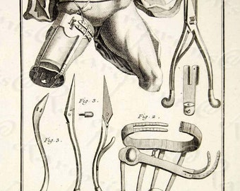 Original Copper Engraving Antique Surgical Instruments Leg Amputation  From Famous Encycolopedia of  Diderot