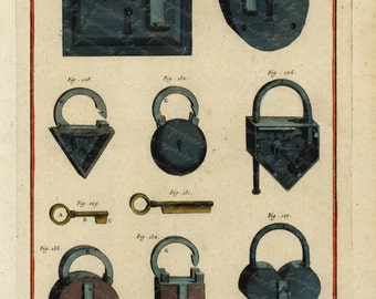 Original Antique Diderot Encyclopedia Engraving Art of Writing - Locksmith Tools Large Folio  Rare Find Original