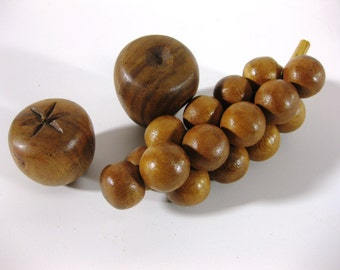Vintage Wood Fruit Produce ~ Retro Carved Wood Fruit ~ Vintage 1970s Carved Wood