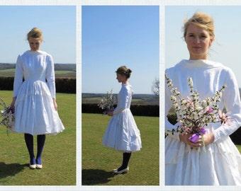 incredible 1950's ballerina brocade short vintage wedding dress M