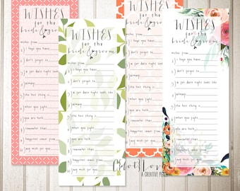 Wishes for the Bride & Groom - Bridal shower party game (coral, pink, green, floral, watercolor)