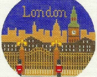 "Needlepoint Handpainted LEE LONDON Christmas Ornament 18M 4.25"" -Free US Shipping!!!"