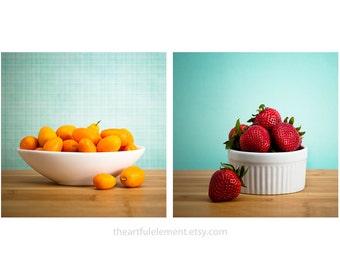 Kitchen art, Large wall art, Fruit kitchen decor, Kitchen photo series, Kitchen gifts, Strawberry, Set of 2 prints //Summer Fruit photo set