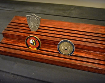 Solid oak firefighter police military challenge coin holder