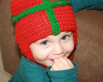 All I want for Christmas is you! Christmas Present 'Inspired' Crochet Earflap Hat. Gift wrapped person hat! Red and Green.
