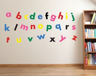 A to Z Alphabet Wall Stickers Kids Nursery Play Room Home Art Decoration Children's Decals Removable Handmade School Bedrooms  Bright VC-A07