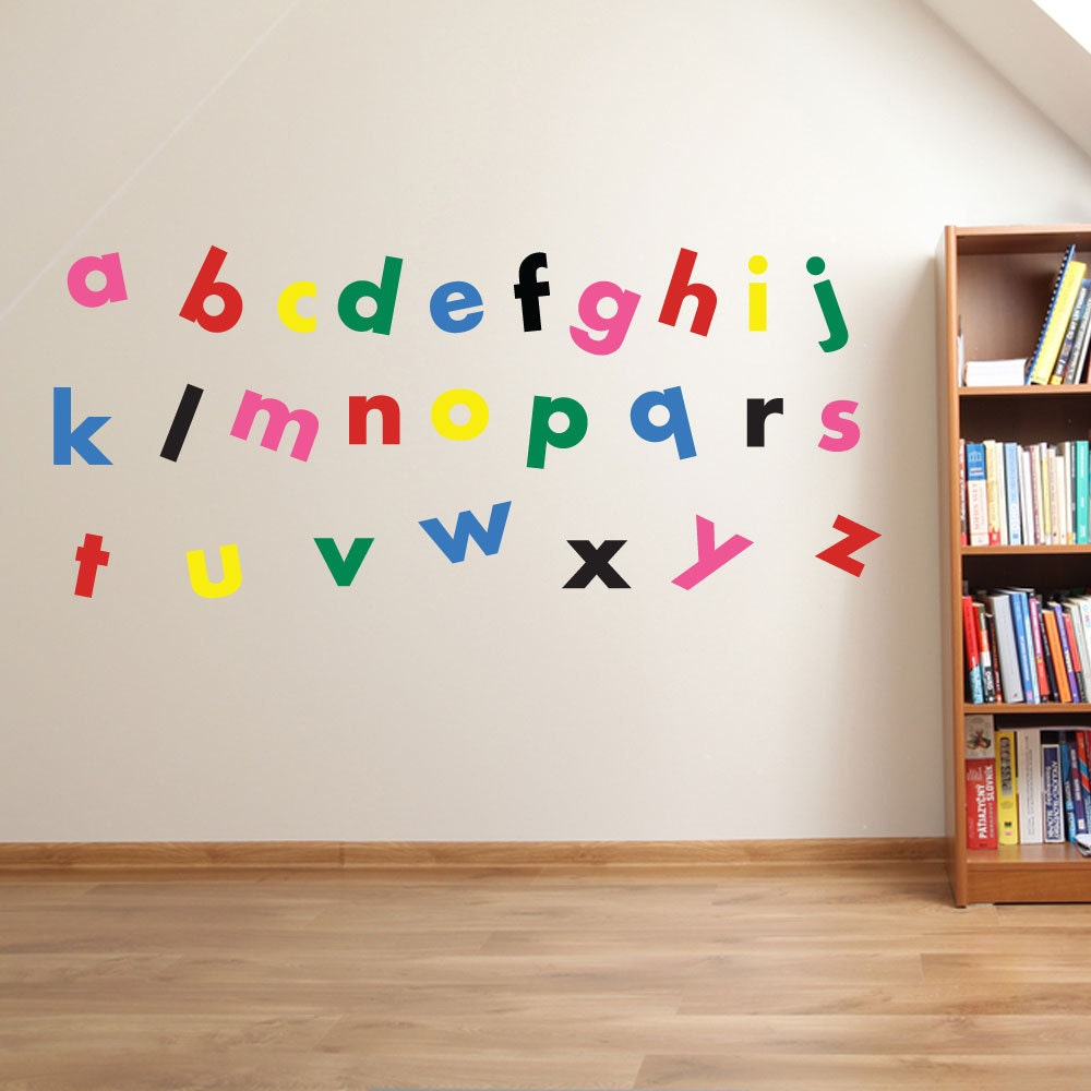 A to z alphabet wall stickers kids nursery play room home art zoom amipublicfo Gallery