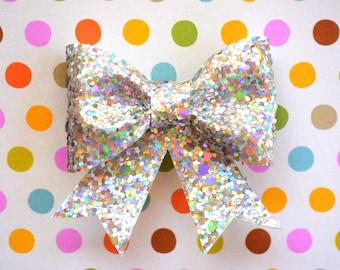 Iridescent Rainbow Glitter Hair Bow