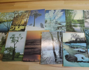 Set of 14  vintage postcards  with landscapes   ...  1980s years