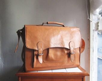 SALE Vintage Cat Walk tan leather handbag satchel shoulder cross body messenger bag briefcase