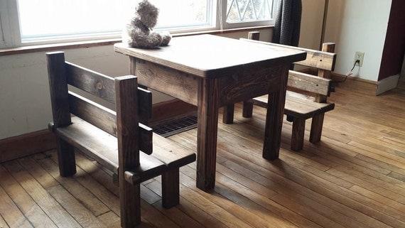 Childrens Rustic Primitive Table Bench Set Kitchen Farm House
