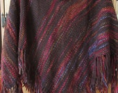 Sale! Handwoven wool poncho or wrap with multicolored stripes and long fringes