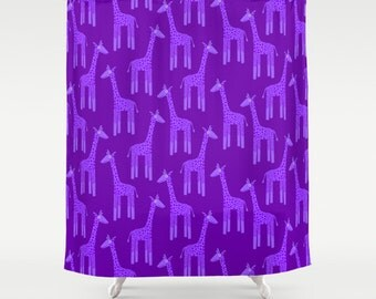 Purple Giraffe Shower Curtain, Purple Shower Curtain, Purple Bathroom Decor,  Purple Bathroom Accessories Part 47