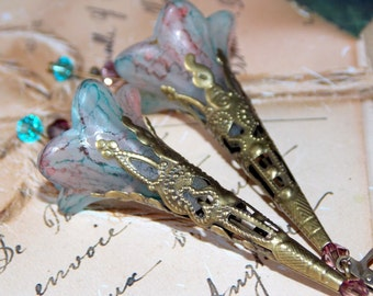 Lucite Flower Earrings, Drop Earrings, Victorian Earrings, Boho Earrings, Hand Painted, Dangle Earrings, Drop Earrings, Swarovski Crystals