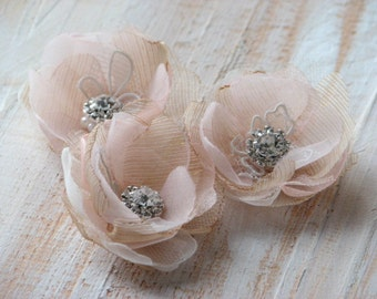 Champagne hair flower Wedding champagne flower Blush hair flower Champagne hair pins Champagne hair clips Blush champagne wedding Blush pins