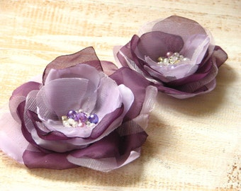 Set of 2 purple flower Lilac hair pin Purple hair flower Lavender hair flower Lilac hair flower Wedding purple flower Lilac wedding flower