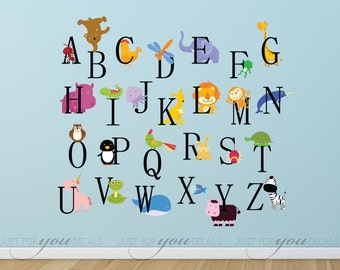 Animal Wall Decal, Animal Wall Sticker, Alphabet Wall Decal, Alphabet Wall Sticker, Playroom Wall Decal, Playroom Wall Sticker