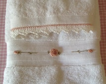 Pink Embroidered white deluxe hand towel and washer set with crocheted edge