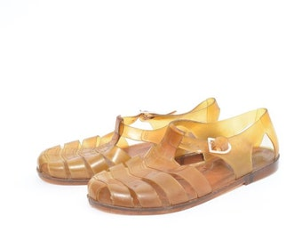 Vintage 80's Rubber Yellow Sandals