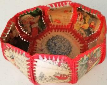 Vintage Christmas Card/Yarn Handmade Bowl/Basket