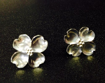 Dogwood Flower Earrings-Sterling Silver