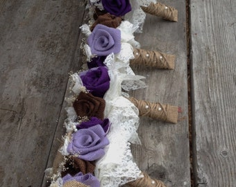 Beautiful lavender, purple and chocolate brown burlap bouquets with pearls and baby's breath accents(listing is for one bridal bouquet)