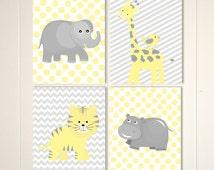 Grey yellow nursery, baby boy nursery art, hippo, elephant, giraffe, safari theme nursery, chevron, polkadot, set of 4