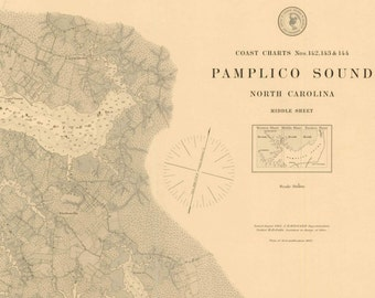 Pamlico Sound Middle Sheet -1883 Outer Banks North Carolina - Nautical Map Reprint  80000 AT Chart 43