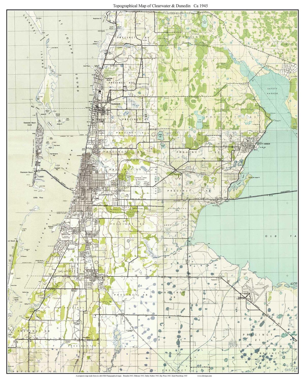 Clearwater  Dunedin Florida  Old Topo Map A Composite - Florida map dunedin