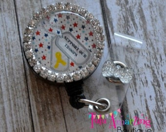 Support Our Troops- Retractable ID Badge Holder- ID Badge Reel, Military Spouse,Teacher, Nurse, Doctor