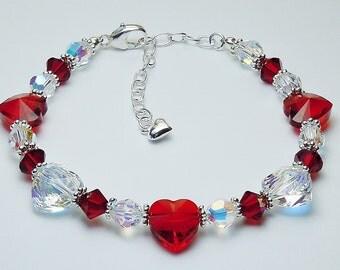Swarovski Crystal Heart Bracelet  - Siam (Red) and Crystal AB