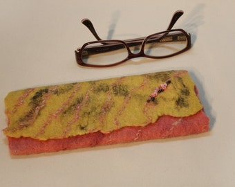 Wet Felted Glasses Holder/Case w beadwork, deep yellow to dusty rose pink with chunky yarn highlites