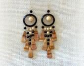Wooden earrings dream catchers Red   Beige Chandelier  long Large Earthy   Dangle Drop Anniversary gift  Wood jewelry Beadwork