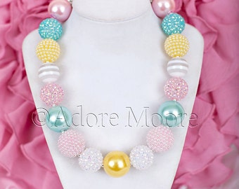 Spring Necklace, M2M Sweethoney, Chunky Bead Necklace, Child Girls Necklace