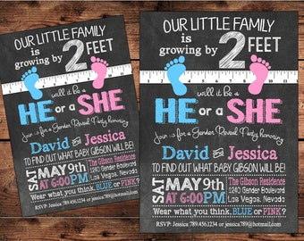 Unique Gender Reveal Invitation - Growing by 2ft - Digital Invitation