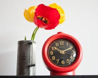Mechanical Alarm Clock, Soviet Red Desk Clock, Jantar Soviet Union Home Decor, Office Decor, Black Red, Mother's Day