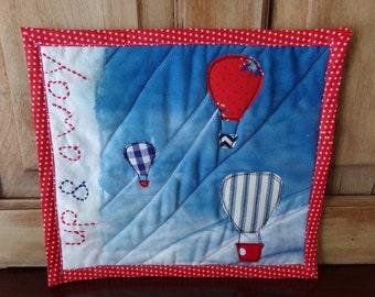 Up and Away Art Quilt, Hot Air Balloon Wall Hanging, Child's Room Decor, Hot Air Balloon Wall Art, Quilted Hot Air Balloon Mug Rug