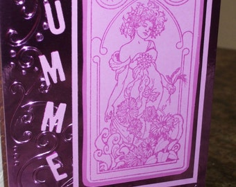 Midsummer Card Goddess Summer Solstice Greetings Alphonse Mucha Art Nouveau