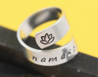 Namaste Ring - Lotus Ring - Flower Ring - Yoga Ring - Wrap Ring - Twist Ring - Inspirational Ring - Adjustable Ring - Breathe Ring - Size 7