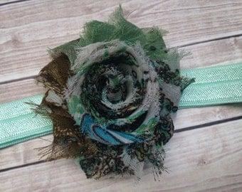 Green Shabby Flower Stretch Headband
