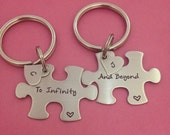 Puzzle Piece Key Chain To Infinity and Beyond Disney Toy Story Inspired with Heart Charm Hand Stamped Custom Initials