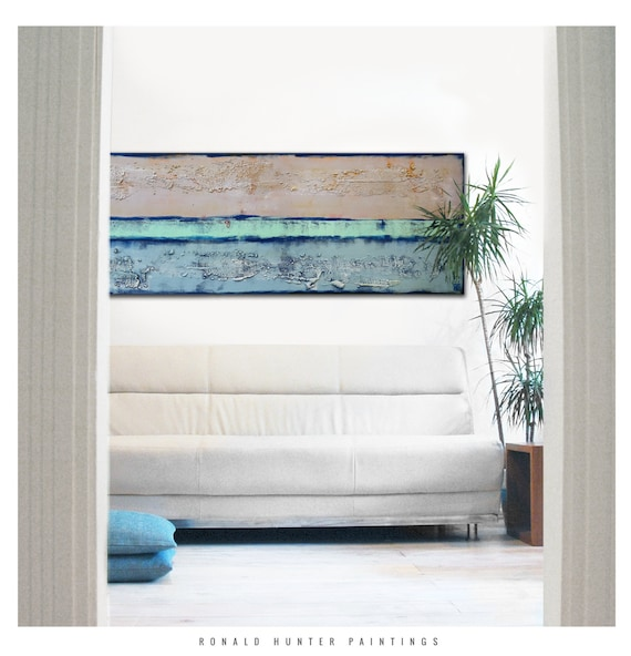 acrylic painting wall decor blue stream lines on by. Black Bedroom Furniture Sets. Home Design Ideas