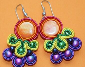 Rainbow Soutache Dangle Earrings, Multicolor Earrings, Hippie Earrings, Embroidered Earrings, Unique Handmade Earrings, Colorful Earrings