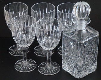 Vintage, Set of Five Mikasa Wine Glasses with Decanter