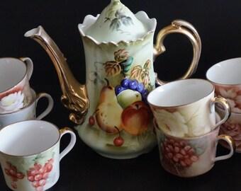 Vintage, Porcelain Lefton Teapot with Seven Seltmann Weiden Porcelain Cups